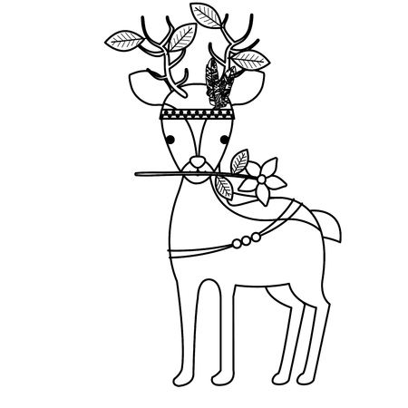 A cute reindeer with flower and feathered hat with leaves vector illustration design Illustration
