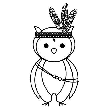 A cute owl with feathered hat vector illustration design Illustration