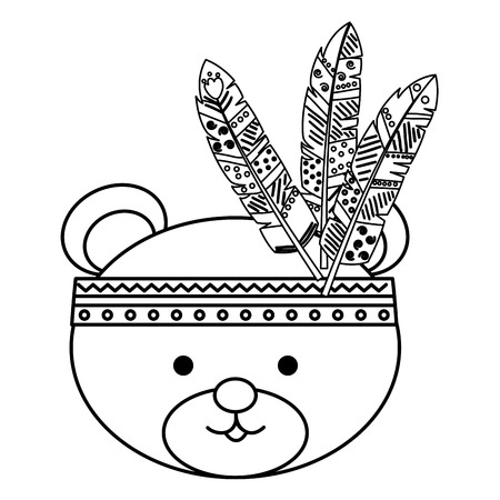 A cute bear with feathered hat vector illustration design