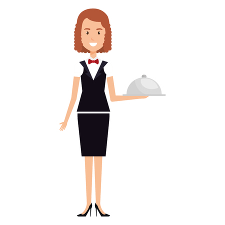 woman waiter with tray avatar character vector illustration design