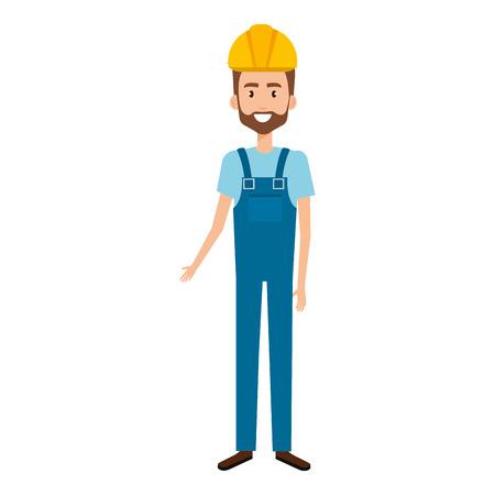 builder constructor with overall avatar character vector illustration design Иллюстрация