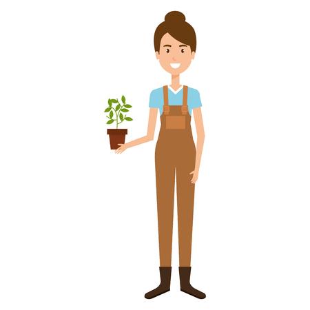 Mujer jardinero con diseño de ilustración de vector de personaje de avatar de planta de interior Foto de archivo - 97893708