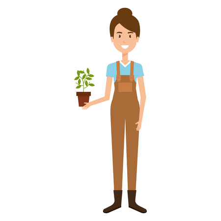 woman gardener with houseplant avatar character vector illustration design
