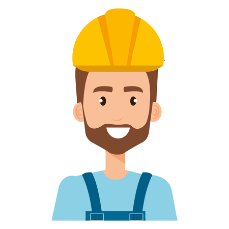 builder constructor with overall avatar character vector illustration design Иллюстрация