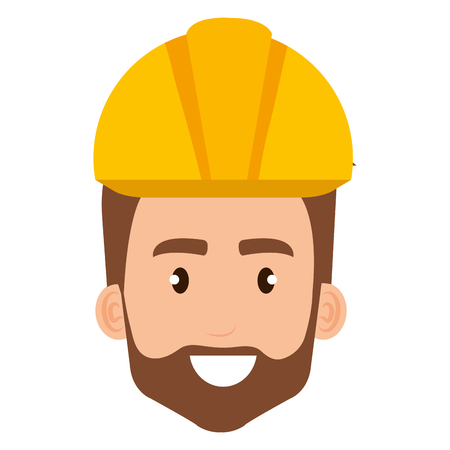 builder constructor head with helmet avatar character vector illustration design