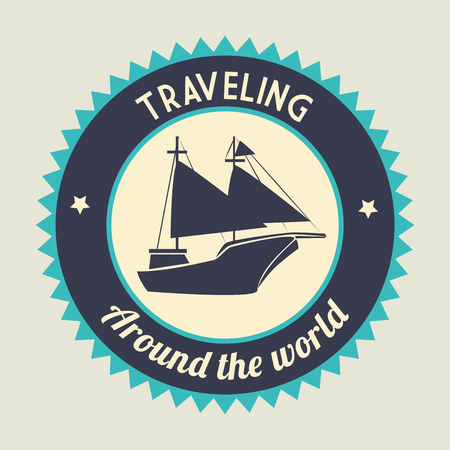 Antique sail boat graphic design, vector illustration. Reklamní fotografie - 97893978