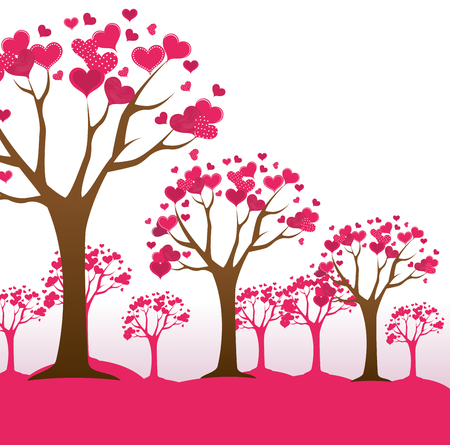 Romantic colorful card design with pink hearts graphic design, vector illustration Stock fotó - 101043443