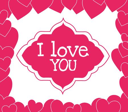 Diseño de tarjeta colorida romántica con diseño gráfico de corazones de color rosa, ilustración vectorial Ilustración de vector