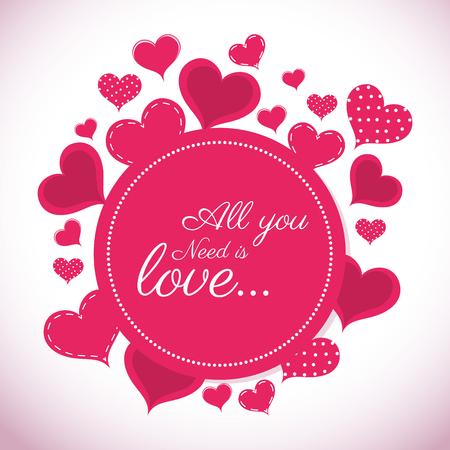 Diseño de tarjeta colorida romántica con diseño gráfico de corazones de color rosa, ilustración vectorial