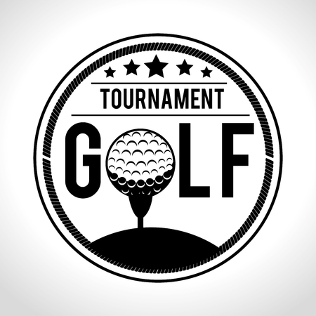 Golf club sport game graphic design with a golf ball as letter O. Ilustracja