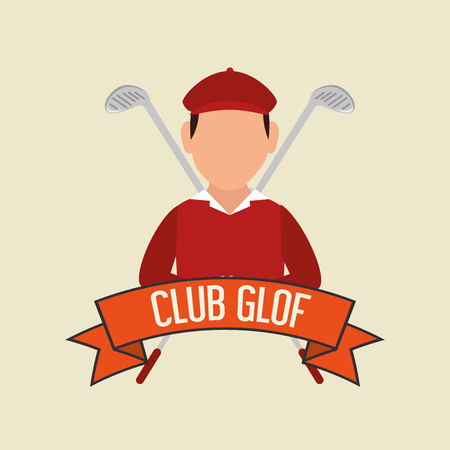 Golf club sport game graphic design of a man with crossed golf clubs on his back.