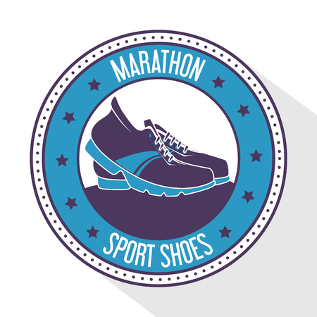 Sport games and fitness lifestyle graphic design that has sport shoes in the center with a blue round frame with stars.