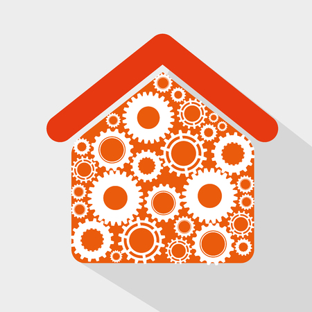 Gears, cogs or wheels in an orange house graphic icons design. Illustration