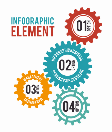 Colorful gears, cogs or wheels infographic design.