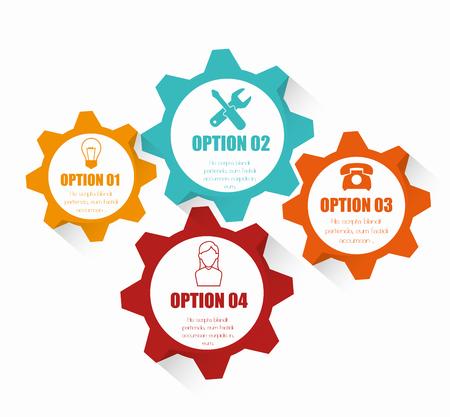 アイコン付き4カラフルなギア、コグやホイールインフォグラフィックデザイン。