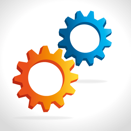 Two gears, cogs or wheels graphic icons design on white background.