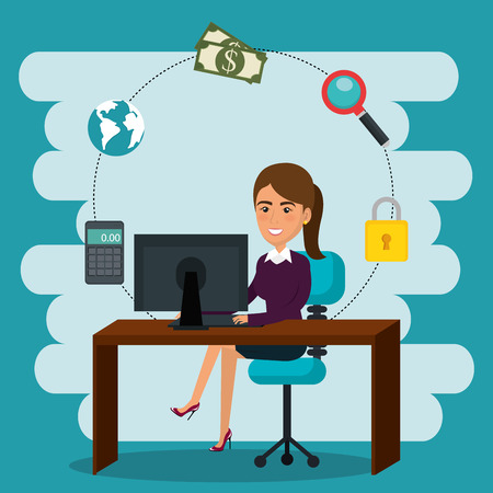businesswoman in the office with e-mail marketing icons vector illustration Illustration