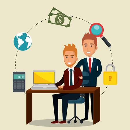 businesspeople in the office with e-mail marketing vector illustration design