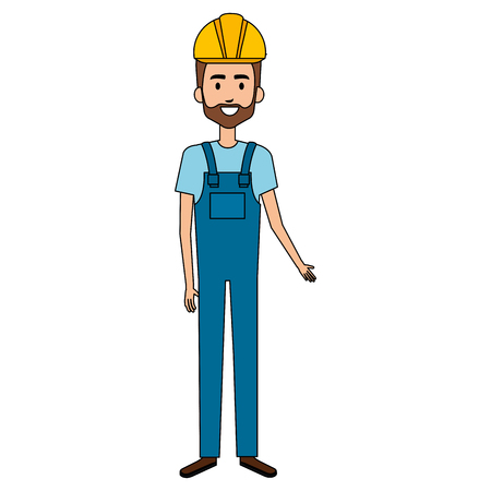 builder constructor with overall avatar character vector illustration design Illustration