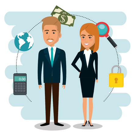 businesspeople with e-mail marketing icons icons vector illustration design