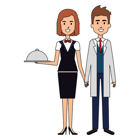 doctor with woman waiter with tray avatar character vector illustration design