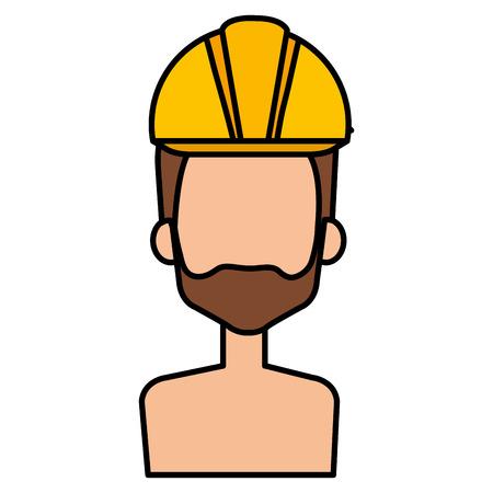 builder constructor shirtless with helmet avatar character vector illustration Illustration
