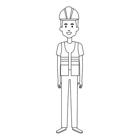 builder constructor reflective vest avatar character vector illustration design