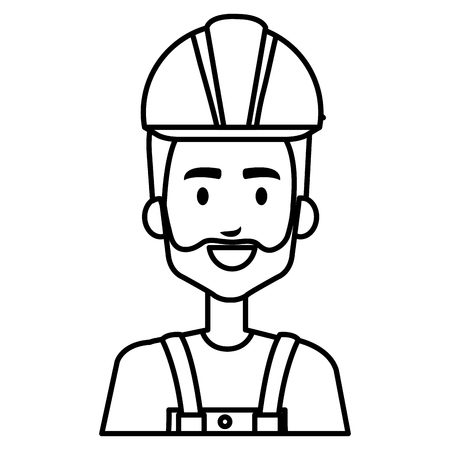 builder constructor with overall avatar character vector illustration design Stock Illustratie