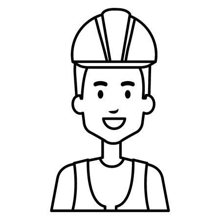 builder constructor reflective vest avatar character vector illustration design