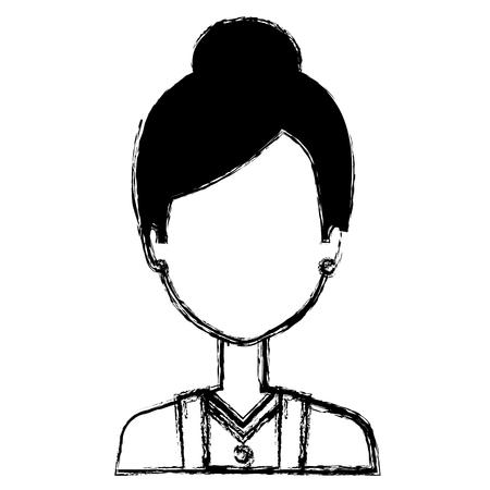woman waiter avatar character vector illustration design
