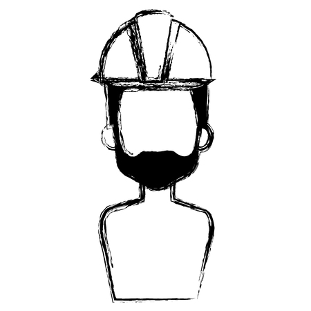builder constructor shirtless with helmet avatar character vector illustration Ilustração