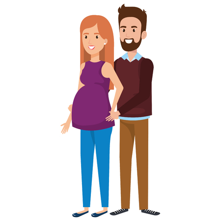 man with woman pregnacy avatar character vector illustration design
