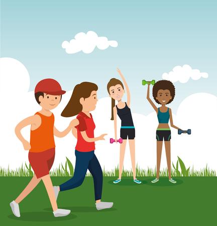 運動キャラクターベクトルイラストデザインを練習する運動選手