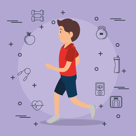 man running with sports set icons vector illustration design Ilustração