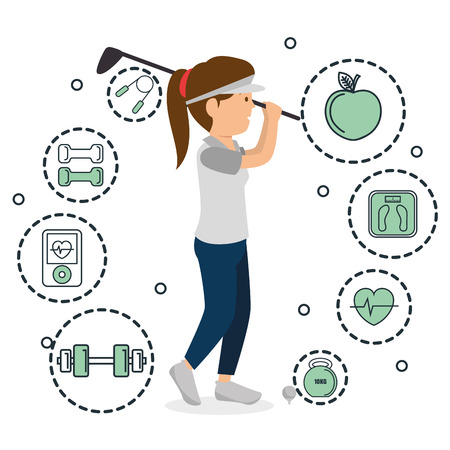 woman playing golf with sports icons vector illustration design