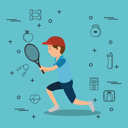 man playing tennis with sports icons vector illustration design