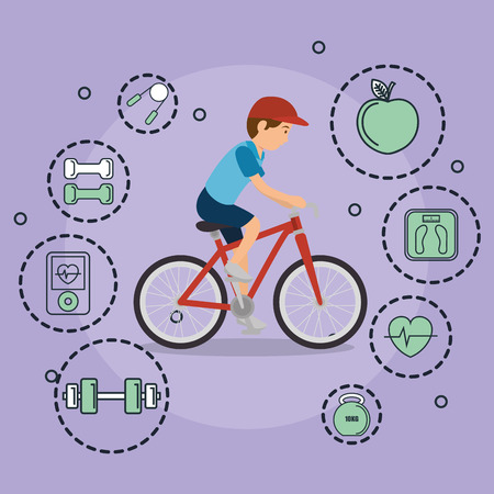 man in bicycle with sports icons vector illustration design