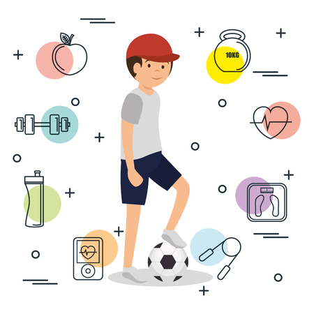 man playing soccer with set icons vector illustration design