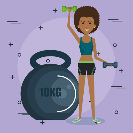 woman weight lifting with sports icons vector illustration design Illustration