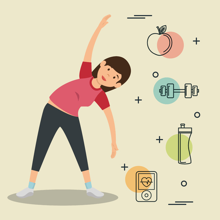 woman practicing exercice with sports icons vector illustration design