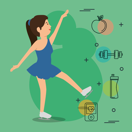 woman dancing with sports icons vector illustration design Illustration