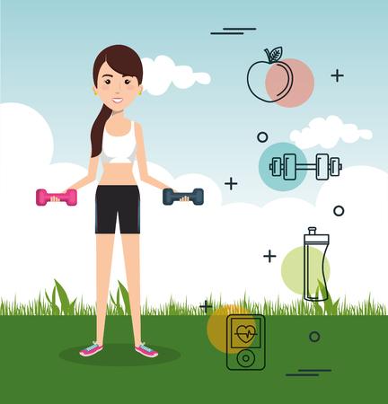 man gewichtheffen met sport iconen vector illustratie ontwerp