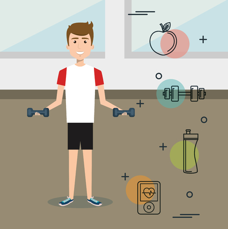 man weight lifting with sports icons vector illustration design