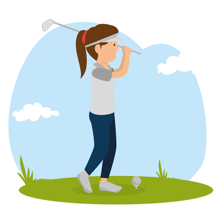 vrouw golfen met sport iconen vector illustratie ontwerp Stock Illustratie