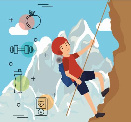 man climbing with sports icons vector illustration design Illustration