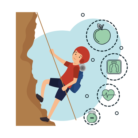 man climbing with sports icons vector illustration design Ilustração