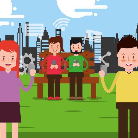 couple sitting on park bench and standing people and looking at smartphone vector illustration