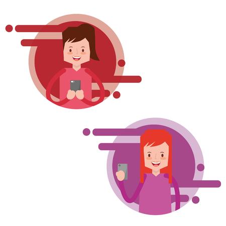 portrait people typing smartphone in hands vector illustration Illustration