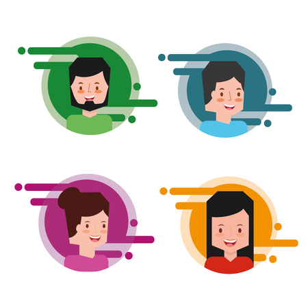 people group in color label avatar character internet vector illustration Illustration