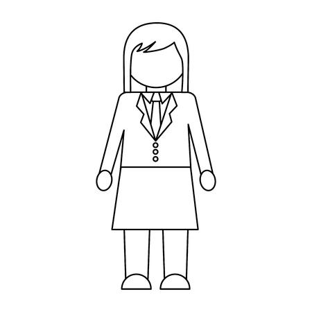 businesswoman character wearing skirt necktie vector illustration outline design